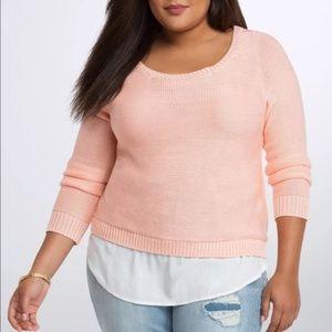 TORRID 6X Peach Knit Sweater White Bottom Hem